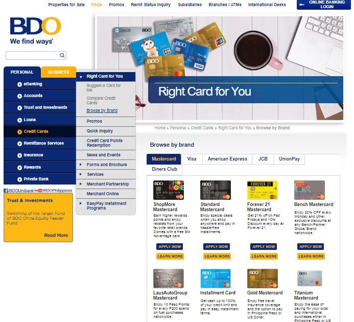 Bdo Credit Cards Online Application